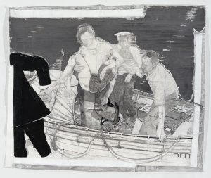 Night Rescue, mixed media on paper, 66x77in. 2014